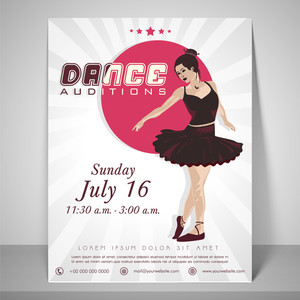Dance audition flyer with dancing girl place holder