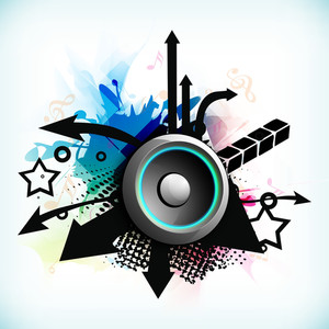 Dance Party Background With Creative Abstracts And Loud Speakers Background