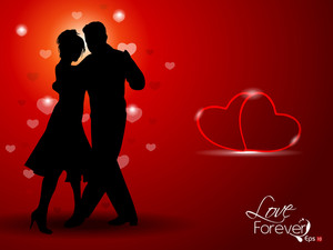 Dancing Couple Silhouette With Hearts On Red Background. Vector.