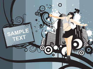 Dancing Girl And Sample Text On Grunge City Backgound
