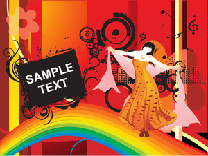 Dancing Girl In A Nice Dress With Sample Text, Floral Banner_2