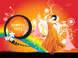 Dancing Girl In A Nice Dress With Sample Text