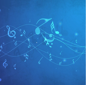 Dancing musical notes background.