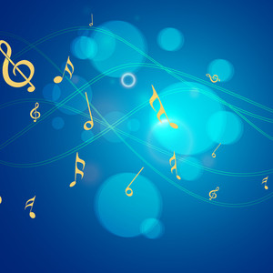 Dancing Musical Notes On Shiny Blue Background