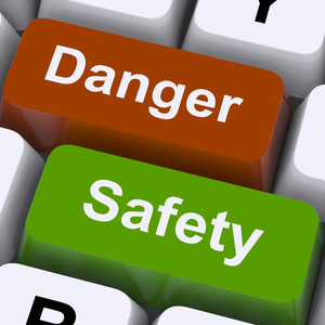 Danger And Safety Keys Shows Caution And Hazards