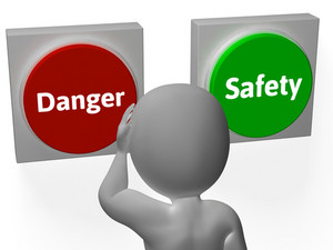 Danger Safety Buttons Show Protection Or Warning