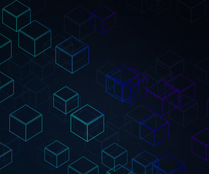 Dark Blue Cubes Background
