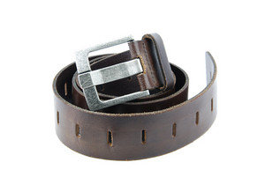 Dark Brown Leather Belt On White