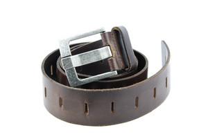 Dark Brown Leather Belt On White
