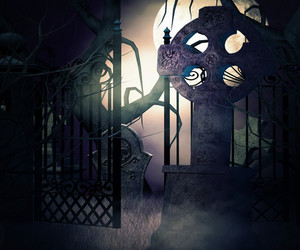 Dark Graveyard Gate Background