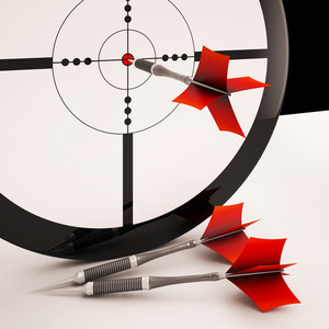 Dart Target Means Focused Successful Aim