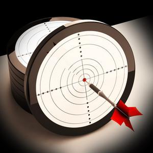 Dart Target Shows Focused Successful Aim