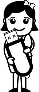 Data Card - Office Character - Vector Illustration