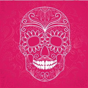 Day Of The Dead Pink And White Skull