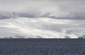 Snowy, sunlit coast