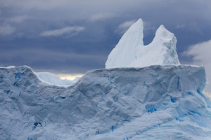 Close up of sunlit snow peak