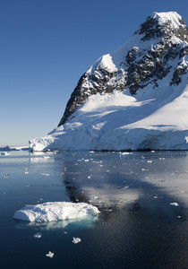 Sunlit, snowy coast and ice floe reflected under a blue sky