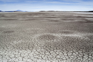 Dry, cracked sand in a vast desert