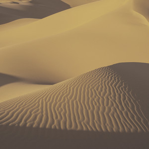 Sunlit sand dunes in the desert