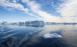 Sunlit iceberg and ice floes in the water