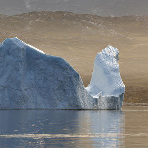 Towering iceberg along a rocky coast