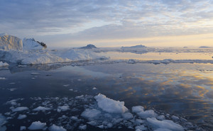 Sunlit ice floes at dusk