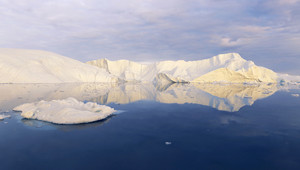 Sunlit icebergs reflected in deep blue water
