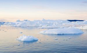 Iceberg and ice floe at dawn