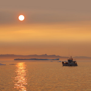 White boat traveling past icebergs along the coast at sunset