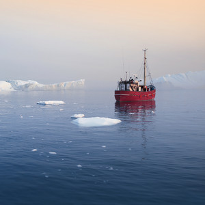 Red boat traveling past icebergs in icy waters at dawn