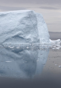 Iceberg reflected in icy waters along the coast at dawn