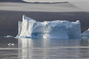 Sunlit iceberg along the coast on a foggy day