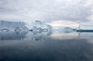 Icebergs reflected in still waters under a grey sky