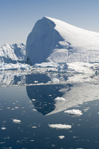 Sunlit icebergs and ice floe in icy waters