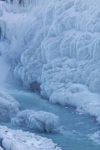 Close up of a frozen waterfall and icy river