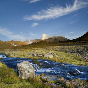 Rocky stream through a mountain landscape