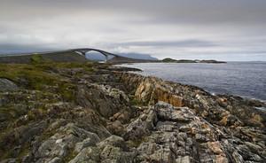 Bridge and a rocky coast