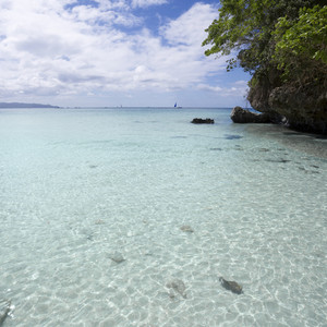 Clear, tropical waters and a small island