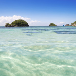 Tropical islands in the clear ocean