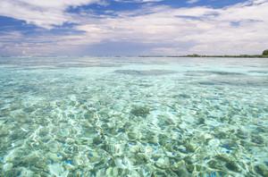Rocky, clear water under a blue sky