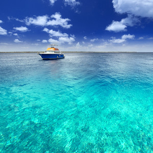 Boat in tropical ocean waters