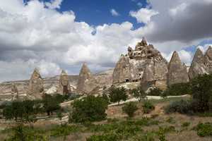 Road through a rocky mountain landscape