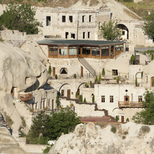 Village built into a rocky mountain