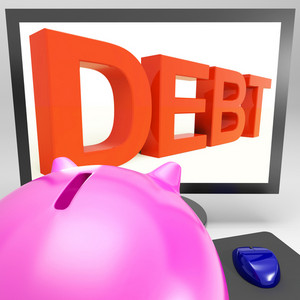 Debt On Monitor Showing Financial Troubles