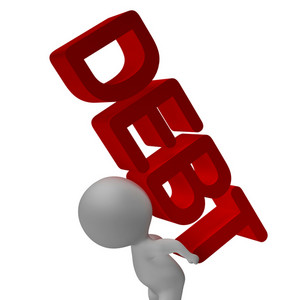Debt Word And 3d Character Shows Bankruptcy And Poverty