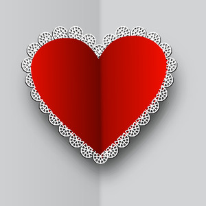 Decated Fold Red Heart On Plane Grey Background