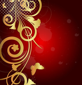Decor Golden Flora Background