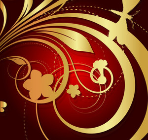 Decor Golden Floral Background