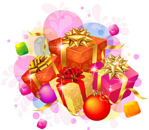 Decorated Christmas Gifts With Gold And Red Ribbons. Vector.