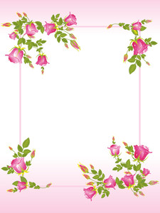 Decorated Frame With Rose Flower